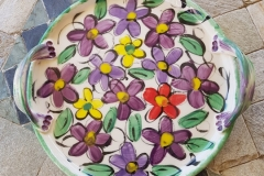 2019 Floral plate with handles